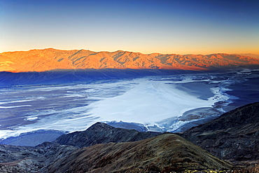 View from Dante's View at sunrise over Badwater Basin, Death Valley National Park, California, USA