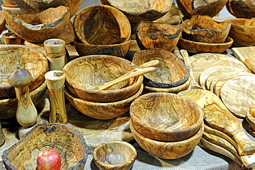 Various kitchen utensils made of olive wood