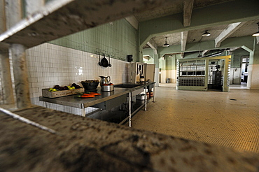 Looking through the meal slot in the dining hall into the kitchen in the prison, Alcatraz Island, California, USA