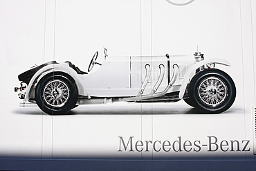 Photo of a Mercedes ss on the tarpaulin of the truck of the Mercedes Benz Oldtimer Museum, Oldtimer Grand Prix Nurburgring 2010 race, Nurburgring race track, Rhineland-Palatinate, Germany, Europe