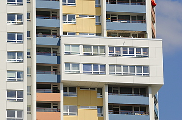 High-rise apartment building by Walter Gropius, Gropius City, satellite settlements, large housing estate, satellite town with 18, 000 homes, Neukoelln, Berlin, Germany, Europe