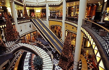 Interior with Christmas tree, luxury shopping at Christmas time, Quartier 206, Friedrichstrasse, Berlin, Germany, Europe