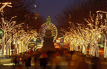 Unter den Linden at Christmas time with the equestrian statue of Frederick II, ferris wheel, Red Town Hall, Berlin, Germany, Europe