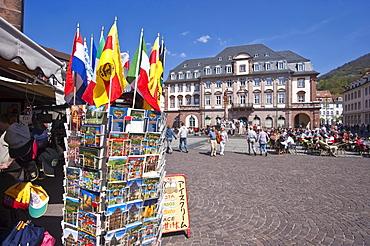 Marktplatz square with the Town Hall, Heidelberg, Neckar, Palatinate, Baden-Wuerttemberg, Germany, Europe