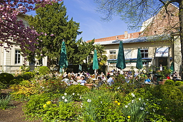 Cafe in the main pedestrian street of the historic town centre, Heidelberg, Neckar, Palatinate, Baden-Wuerttemberg, Germany, Europe