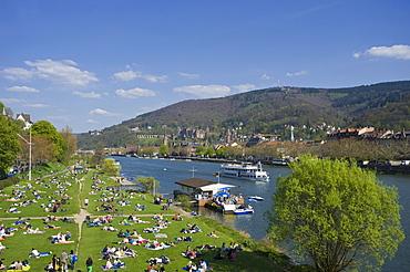 Cityscape with Neckar River, Heidelberg, Palatinate, Baden-Wuerttemberg, Germany, Europe