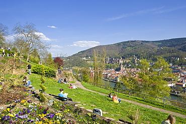 City panorama seen from Philosophers' Walk, Heidelberg, Neckar, Palatinate, Baden-Wuerttemberg, Germany, Europe