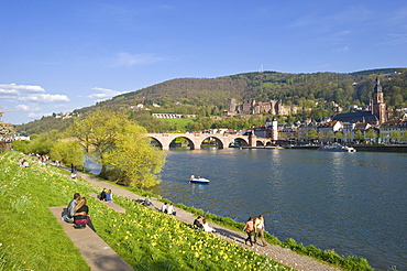 Cityscape with Old Bridge or Karl-Theodor Bridge, Heidelberg, Neckar, Palatinate, Baden-Wuerttemberg, Germany, Europe