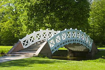 Schwetzingen Castle, castle garden, Palladio Bridge, or Chinese Bridge, Schwetzingen, Electoral Palatinate, Baden-Wuerttemberg, Germany, Europe