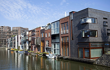Modern canal houses on Borneo island, Amsterdam, Holland region, Netherlands, Europe