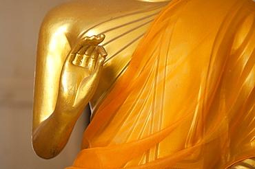Detail of the hand, Buddha statue in the Big Buddha temple, Po Phut, Koh Samui, Surat Thani Province, Thailand, Asia