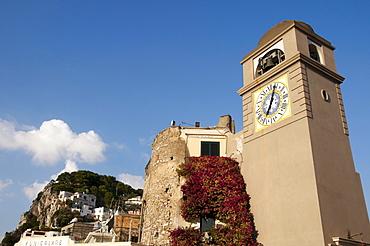 Campanile on Piazza Umberto I square, Capri, island of Capri, Italy, Europe