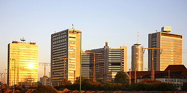 Essen city centre, skyline with various administrative and corporate buildings of large companies such as RWE and EVONIK, Essen, North Rhine-Westphalia, Germany, Europe