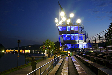 Lake Baldeney, Essen, Regatta Tower with an art installation by Christoph Hildebrand, Time, 20 different clocks as part of the European Capital of Culture Ruhr 2010, Project TWINS-Ruhrlights, Twilight Zone, Essen, North Rhine-Westphalia, Germany, Europe
