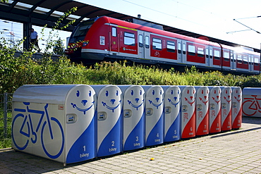 Bikey, bicycle lockers for hire for safe parking of bicycles, Bottrop, North Rhine-Westphalia, Germany, Europe