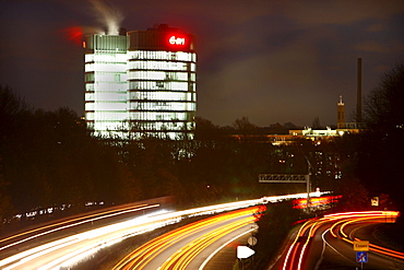 New headquarters of EON Ruhrgas AG, since October 2010, almost 2, 000 employees work in the new administrative building, motorway of the A52 Autobahn, Essen, North Rhine-Westphalia, Germany, Europe