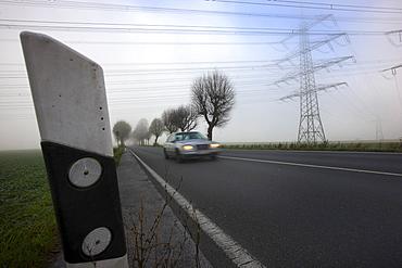 Road between Essen and Bochum in dense fog, autumn, visibility below 100 metres, Essen, North Rhine-Westphalia, Germany, Europe