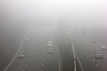 A52 motorway in thick fog, autumn, visibility below 100 metres, Essen, North Rhine-Westphalia, Germany, Europe