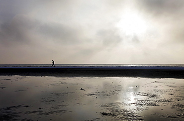 Person walking along the snow-covered beach on the East Frisian North Sea island of Spiekeroog, Lower Saxony, Germany, Europe