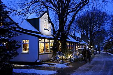 Street in a little village in winter, Spiekeroog island, one of the East Frisian Islands, Lower Saxony, Germany, Europe
