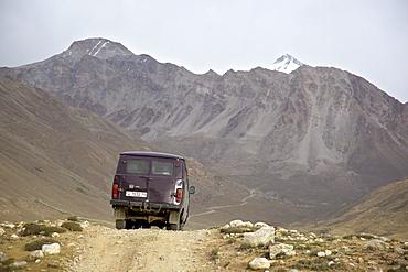 UAZ off-road vehicle bus, Pamir mountain range, Tajikistan, Central Asia