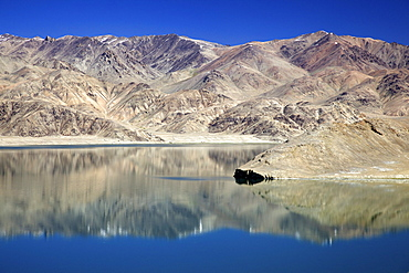 Reflection on Yashikul Lake, Pamir Tajikistan, Central Asia
