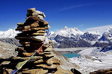 View from the Renjola pass on Gokyo and Gokyo Tso Lake over the Ngozumpa glacier to the Everest massif, Khumbu, Sagarmatha National Park, Nepal, Asia