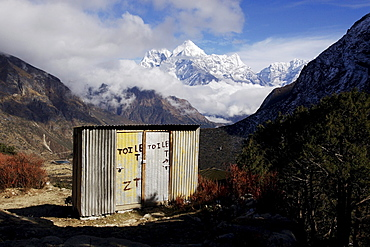 Toilets at the Buddhist monastery of Thame, behind Mt. Kangtega and Mt. Thamserku, Khumbu, Sagarmatha National Park, Nepal, Asia
