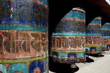 Prayer wheels at the Buddhist monastery of Namsche Basar, Khumbu, Sagarmatha National Park, Nepal, Asia