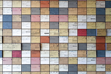 Wall with index cards of Nazi persecution, Documentation Centre, Topography of Terror, Berlin, Germany, Europe
