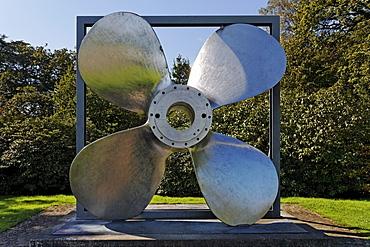 Ship propeller made of Krupp Nirosta stainless-steel, V2A, Villa Huegel, Essen-Baldeney, North Rhine-Westphalia, Germany, Europe