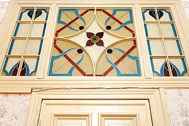 Art Nouveau window over a door, former home of silent film star Asta Nielsen, today Pension Funk, Fasanenstrasse, Charlottenburg district, Berlin, Germany, Europe