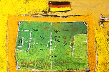 Soccer field and a German national flag, chalk drawing, painted on the floor by children, Germany, Europe