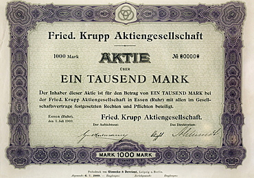 "Historic stock of the Friedrich Krupp AG, ""Ein Tausend Mark"", German for ""one thousand Deutschmarks"", exhibition in the Villa Huegel mansion, Baldeney district, Essen, North Rhine-Westphalia, Germany, Europe"