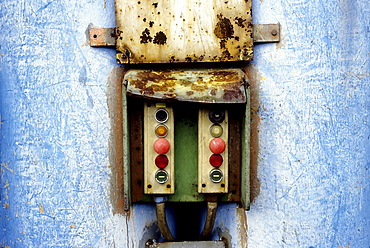 Old control box with buttons, Huettenwerk Meiderich steel mill after closure, today Duisburg-Nord Landscape Park, North Rhine-Westphalia, Germany, Europe
