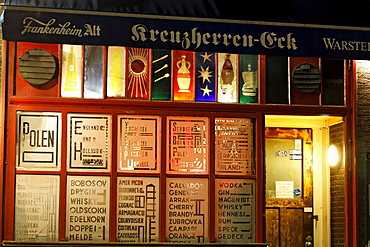 Kreuzherren-Eck pub, fully licenced, art bar of the 50s, stained-glass windows by Guenter Grote, Ratinger Strasse street, historic district, Duesseldorf, North Rhine-Westphalia, Germany, Europe