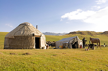 Yurts, tents of Nomads at Song Koel, Kyrgyzstan, Central Asia