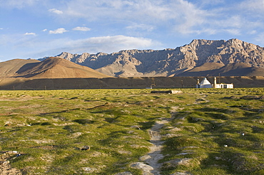 Mosque in a vast rocky landscape, Murgab, Tajikistan, Central Asia