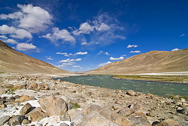Mountainous landscape and river, Wakhan Valley, Pamir Mountains, Tajikistan, Central Asia
