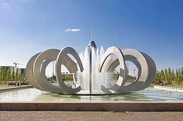 Fountains at the Khan Shatyry Entertainment Center, landmark of Astana, Kazakhstan, Central Asia
