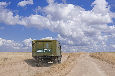 Truck in the steppe, Tamagaly Das, Kazakhstan, Central Asia
