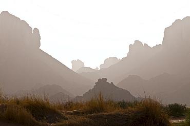 Bare landscape at gorge of Essendilene, Algeria, Africa