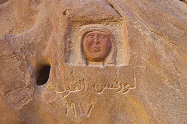 Image of Lawrence of Arabia engraved in a mountain, desert, Wadi Rum, Jordan, Western Asia