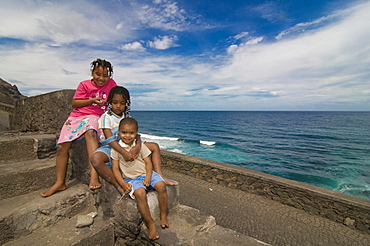 Three smiling children, San Antao, Cabo Verde, Cape Verde, Africa