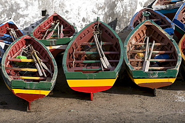 Wooden boats on the beach, San Antao, Cabo Verde, Cape Verde, Africa