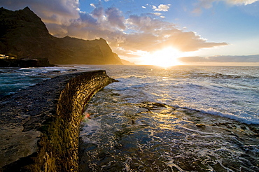 Stonewall at the coast of San Antao, sunset, Cabo Verde, Cape Verde, Africa