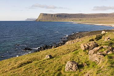 The dry landscape at the coast of the Westfjords, Breidavik, Iceland, Europe