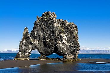 Hvitserkur sea stack, Vatnsnes Peninsula, Iceland, Europe
