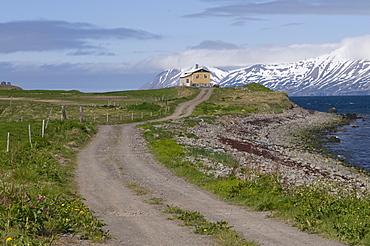 Path leading to house, Eyjafjoerdur, Iceland, Europe