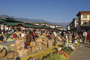 Market place, Paro, Bhutan, Asia